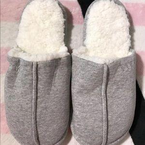VS Pink Gray Pink Sherpa Slippers & Eye Mask Set